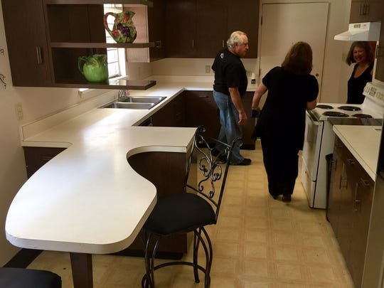 The kitchen table is an example of how Sam Tune's dad sometimes avoided right angles to design something more interesting or user-friendly.