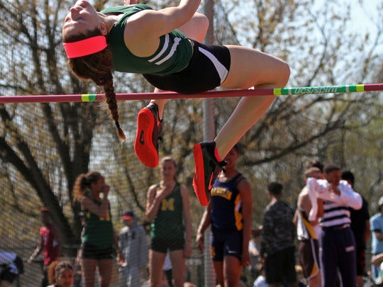 Ridge's Jessica Creedon competes in the high jump. This is action of the Somerset County Track Relays at Ridge High School in the Basking Ridge section of Bernards.