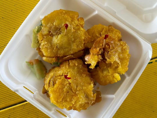 Tostone sliders, made with  fried plantains in place