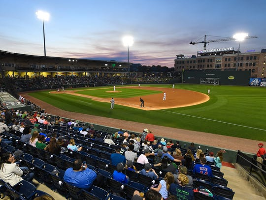 Greenville Drive opening night on Thursday, April 12,