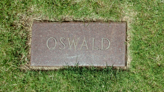 A headstone marking the grave of Lee Harvey Oswald, who assassinated President John F. Kennedy in 1963.