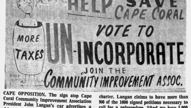 Cape Coral was incorporated as a city in August 1970. Scarcely five months later, the Cape Coral Community Improvement Corporation (CIC) got up a petition to abolish the city government. This notice is from the March 9, 1971, News-Press.