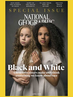 In this image provided by National Geographic, the cover of the April 2018 issue of National Geographic magazine, a single topic issue on the subject of race.