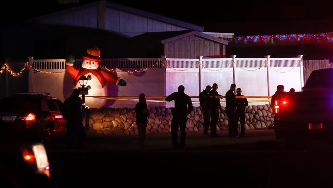 Police investigate the officer-involved shooting of Frankie L. Anchondo on Dec. 20 on Riverstone Road in Farmington.