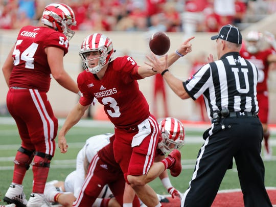 Indiana's Tyler Green (3) scores a touchdown after recovering a fumble during an NCAA college football game Saturday, Oct. 7, 2017, in Bloomington, Ind.