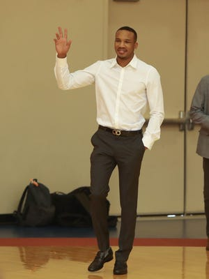 New Pistons guard Avery Bradley arrives for his introductory press conference July 13, 2017 at the practice facility in Auburn Hills.