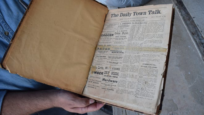 The first edition of The Town Talk was printed Saturday, March 17, 1883. Bound volumes containing editions of The Town Talk dating back to 1883 were moved to the James C. Bolton Library on the LSUA campus Friday.