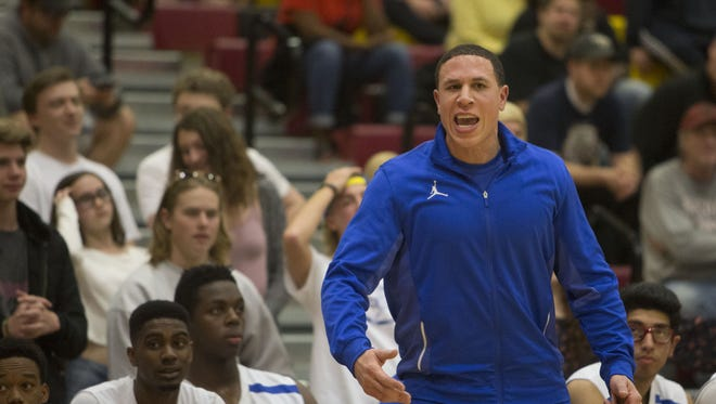 Shadow Mountain's head coach Mike Bibby yells to his team as they play against St. Anthony's during The Hoophall West boys basketball tournament at Chaparral High School on Dec. 19, 2015 in Scottsdale, Ariz.