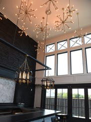 A view of the bar and decorative overhead lights at