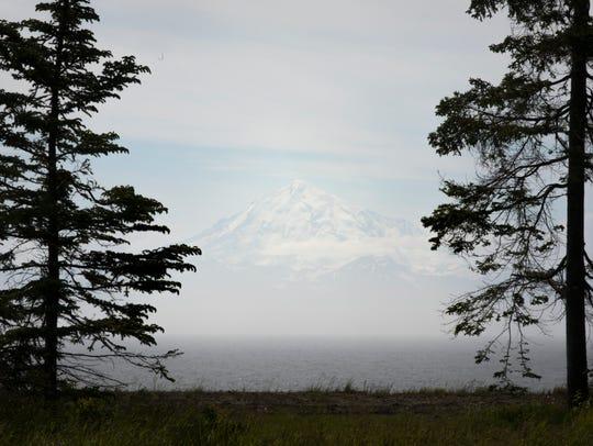 Mon., June 26, 2017:  The view of the  Aleutian mountain