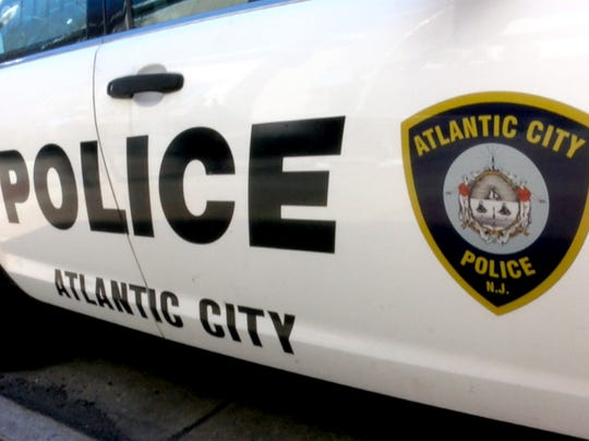 An Atlantic City Police vehicle is shown outside police headquarters Thursday, March 15, 2018.