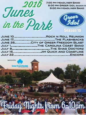 2016 Tunes in the Park schedule