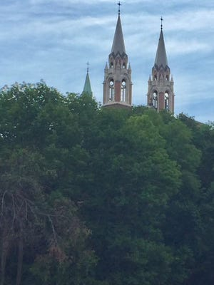 The twin spires of the church at Holy Hill.