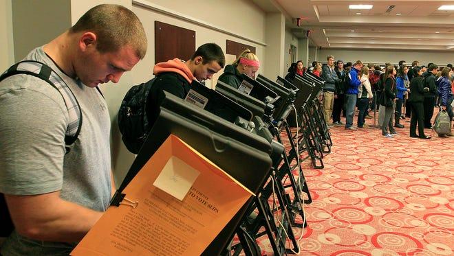 Voters at the polls Nov. 6, 2012, in Columbus, Ohio.