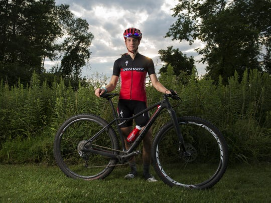 Lea Davison poses for a portrait at the conclusion of the Wednesday night mountain bike races held at Catamount Outdoor Family Center last week in Williston.