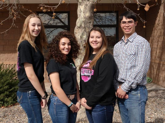 State 4-H ambassadors are, from left, Brianna Chavez of Socorro County, Isabella Lucero of Bernalillo County, Faith Bohannon of Cibola County and Gabriel Doherty of San Juan County.