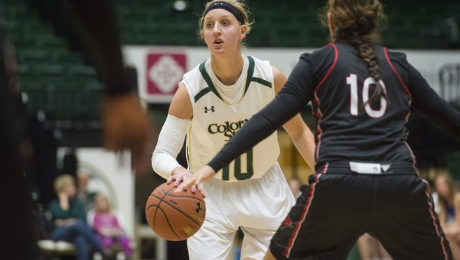 CSU guard Hannah Tvrdy in a game earlier this season. The Rams play at San Jose State at 8 p.m. Wednesday.