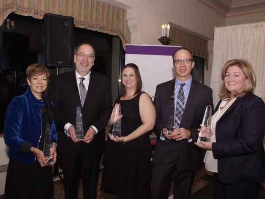 The NJ Ad Club inducted five industry professionals into the 2016 Advertising Hall of Fame. Pictured from left to right are Sally Glick, Sobel & Co; Tom Marguccio, SCG Advertising; Jessica Levin, Seven Degrees Communications; Ed Kessel, Sound Imagination, and  Monica C. Smith; Marketsmith.