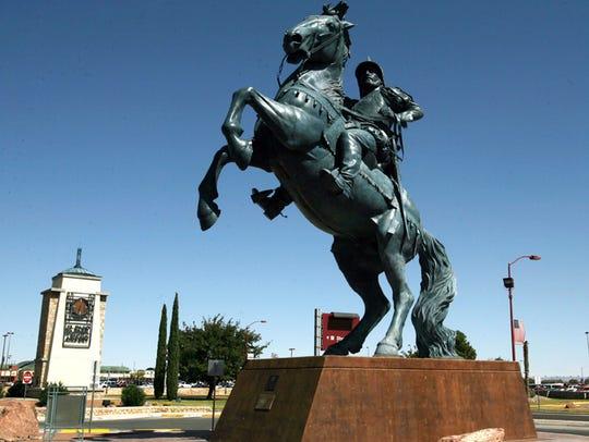 """The Equestrian"" statue greets people near the El Paso"