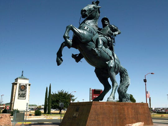 """The Equestrian"" statue greets people near the El Paso International Airport."