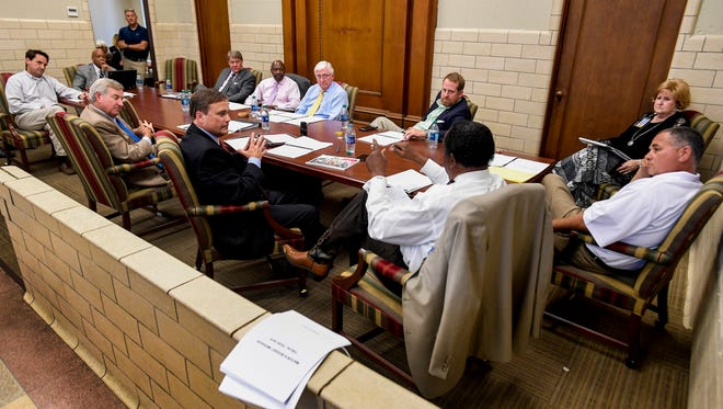 The Montgomery City Council holds a work session on the city budget at city hall in Montgomery, Ala., on Wednesday August 30, 2017.