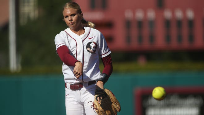 Florida State redshirt senior pitcher Jessica Burroughs delivers a strike against LSU during the first game of their Super Regional matchup at JoAnne Graf Field on Friday, May 26, 2017.