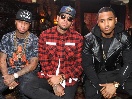 Tyga, from left, Chris Brown and Trey Songz will play Joe Louis Arena on Sunday.