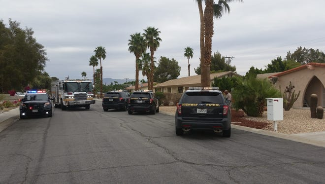 Palm Springs police set up a perimeter Wednesday afternoon before moving in to arrest a suspected bike thief in a residential backyard.