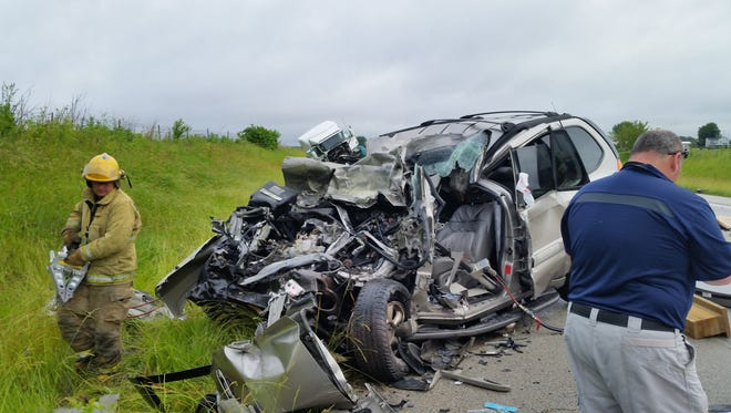 A Portland woman was killed Tuesday when her SUV collided with a semi on U.S. 27