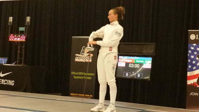 Sofia Komar prepares for her final bout in the USA Summer National Championships.