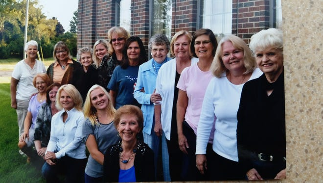 Members of the new Hartland American Legion Ladies Auxiliary Austin-Moore Post 415 include (front row left to right) Bev Wagner, Kathie Horning, Pam Nelson, Charlie Amenson, Alice Wyland, (back row left to right) Marge Scheffler, Annette Moorman, Marge Kennedy, Pam Mitchell, Dawn Lewkowicz, Kathy Sopsich, Eileen Sachau, Pat Carpenter, Denise Sachau, Linda Cooke and Chris Smith.