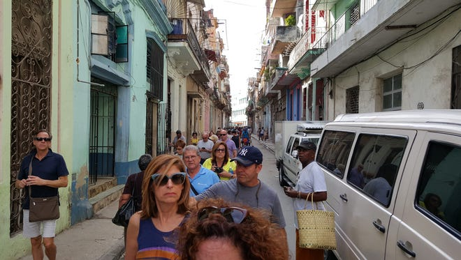 Participants in the Jewish Federation in the Heart of New Jersey's December 2015 mission to Cuba walk through downtown Havana.