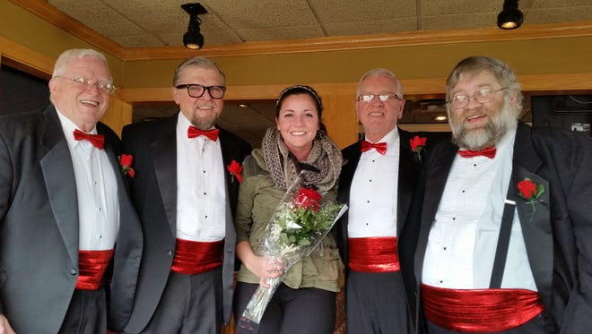 A Singing Valentine photo memento: Jack Edgerton, Boleslaw Kochanowski, Kacey Pennycook, John White, and Rich Pijan.