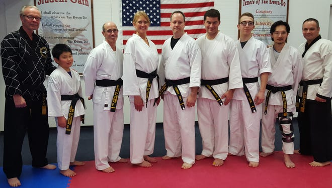 Six students from Reis Martial Arts Academy in Marshfield earned their first-degree black belt and one earned his third-degree black belt on Feb. 14.