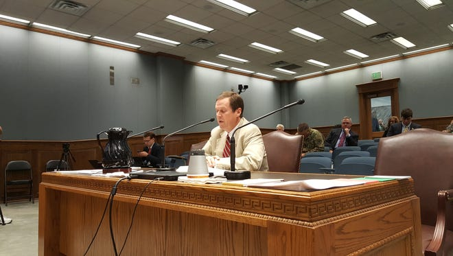 Rep. Thomas Carmondy, R-Shreveport, testifies Thursday in behalf of a bill making removal of monuments deemed offensive by segments of the population. The former Shreveport city councilmember saw his bill die on a 7-7 vote.