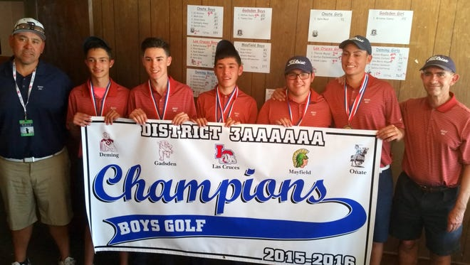 "The Deming High Wildcat golf team captured the District 3-6A team championship Tuesday at Dos Lagos Golf Course in Anthony, N.M. From left are assistant coach Richard Perales, Robert Rogers, Dakota Dwillis, Aaron ""Nemo"" Perales, Jordan Perales, Ezra Uzueta and head coach James Williams."