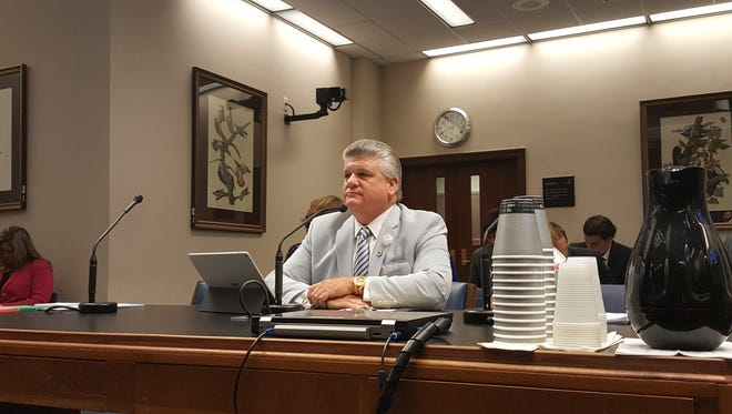 Rep. Lance Harris, R-Alexandria, testifies before the Senate Judiciary C Committee Tuesday on bills to penalize attacks on police officers, firefighters and EMT personnel.