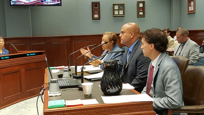 Baton Rouge Sen. Yvonne Colomb, at far end of table, Louisiana State Police Lt. Robert Burns, middle, and private citizen Brad Ourso, testify Monday in front of the House Transportation Committee over a bill to significantly raise fines for driving while texting.