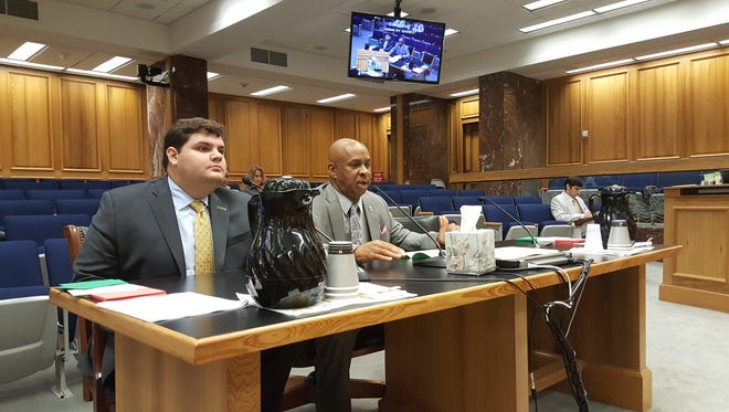 LSU student government representative Jacques Petit (left) and Rep. Randal Gaines, D-LaPlace, speak before the House Education Committee Tuesday regarding a bill to allow university students across the state to use student ID cards as identification for voting.
