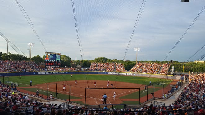 Oklahoma defeated Alabama, 3-0, off a Shay Knighten walk-off homer in the bottom of the 8th inning in the Women's College World Series at ASA Stadium in Oklahoma City.