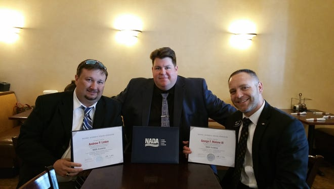 Pictured from left to right are Midway GM Andy Linton, Nordstrom Automotive public relations director Joshua Nordstrom and Courtesy GM George Malone.