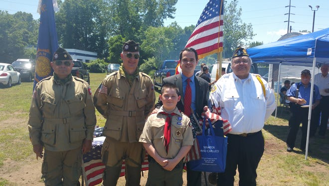 Sen. David Carlucci joined members of the Nyack American Legion Post #310 and Boy Scout Troop 2 from Nyack for a flag retirement ceremony at Camp Shanks Saturday.