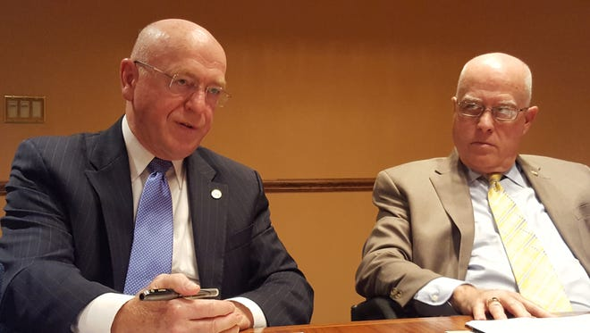 University of Wisconsin System President Ray Cross (left) and UW-Stevens Point Chancellor Bernie Patterson talk with USA TODAY NETWORK-Wisconsin staff during an Aug. 23, 2016, interview at the Wausau Daily Herald office.