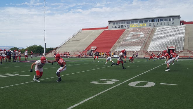 Dixie State football practices on Saturday, August 27, 2016.
