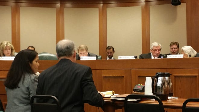 Officials with the Texas Ethics Commission testify Wednesday at a Texas Senate State Affairs Committee hearing. They discussed dark money and growing political expenditures from undisclosed sources.