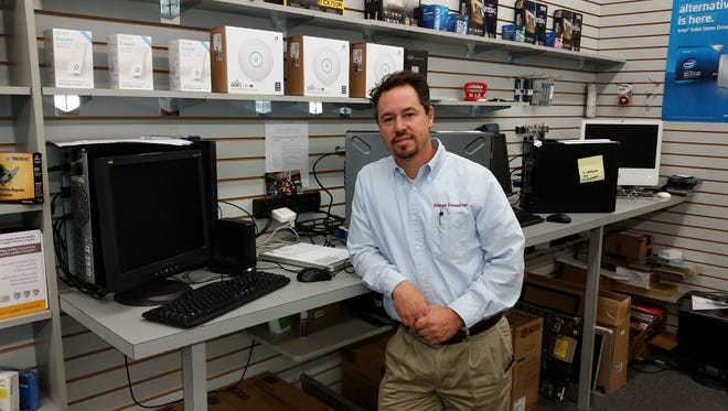 Working in a part of the store where diagnoses are made on malfunctioning computers, Glen Ochten, the owner of Village Computer and Software Center, admitted small shops like his are not as common as in years past but said service trade has allowed the business to succeed.