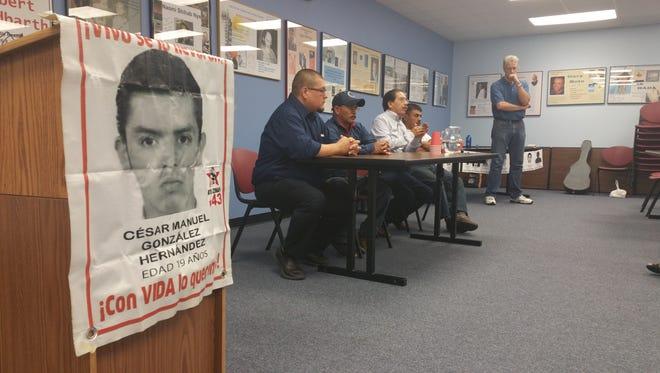 (From left) Mario César González Contreras, Texas A&M University-Kingsville lecturer José Villareal, and Felipe de la Cruz Sandoval lead Thursday's discussion at Del Mar College about the 2014 mass kidnapping of 43 Mexican students.