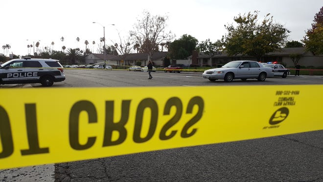 Oxnard police investigate a shooting Friday morning in the 200 block of West Vineyard Avenue.