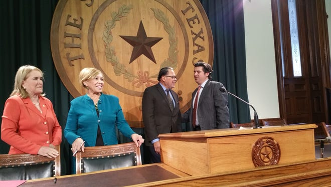 Texas lawmakers on Monday called on state leaders to condemn racial incidents in the wake of the November election. From left are state Sen. Sylvia Garcia, D-Houston; state Rep. Helen Giddings, D-Dallas; state Sen. José Rodríguez, D-El Paso; and state Rep. Eddie Rodriguez, D-Austin.