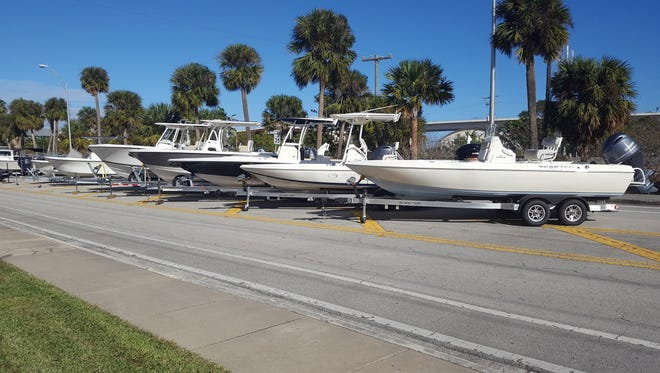 A display of several of the bay boat class offerings for Ocean Blue Yacht Sales are ready for Stuart Boat Show visitors at its on-land display site along Dixie Highway. The Stuart Boat Show will run Friday through Sunday.
